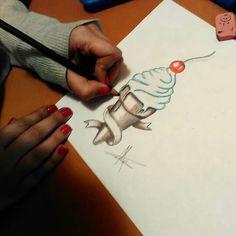 """Ice cream"" diseñado por Esther de Monster Tattoo. DISEÑO DISPONIBLE PARA TATUAR"