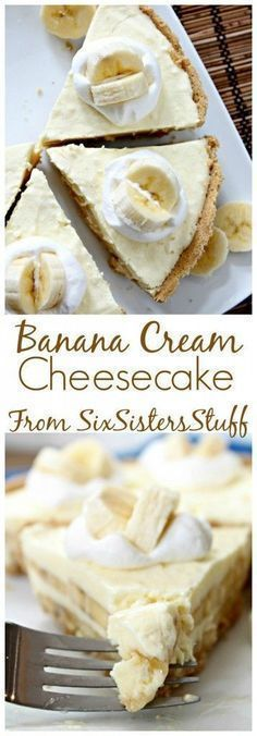 Banana Cream Cheesecake Pie - Six Sisters' Stuff | This fun, non-traditional dessert is one of the best, most-loved on our site! Creamy, delicious, and perfect for Easter or spring. #easterrecipes #bestrecipes