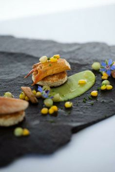 ... chives, sweet corn, pickled cucumber, avocado crème & toasted brioche