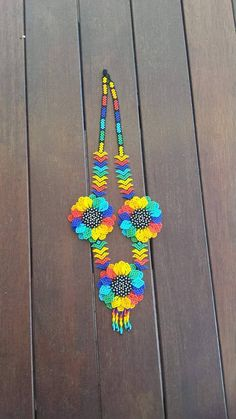 Handmade 3 Flower Huichol Necklace