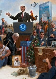 """Naughton Painting- Obamanation- This is a part of his painting called, """"Obamanation."""" It represents most of his first term as President. If I did one for his second term, already I don't know if I could fit everything in the painting."""