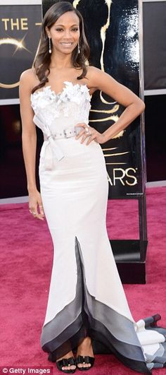 Going glam: Zoe Saldana wore a pale grey strapless Alexis Mabille Couture dress