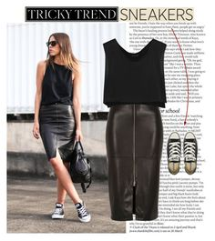 """""""Tricky Trend: Pencil Skirts and Sneakers"""" by amy-lopez-cxxi ❤ liked on Polyvore featuring ASOS, River Island, Kiki de Montparnasse, Converse and TrickyTrend"""