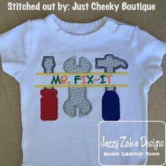 Mr Fix It Applique Design by JazzyZebraDesigns on Etsy