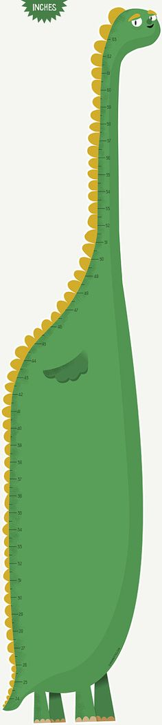 Dinosaur height chart. Available in inches or centimeters.