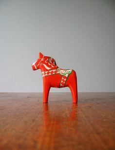Vintage Swedish Dala Horse - Red / Orange via Etsy.