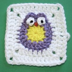 Owl granny square crocheted!  Is this cute or what?!!