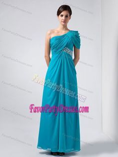 Romantic Beaded One Shoulder Ankle-length Chiffon Anniversary Party Dress
