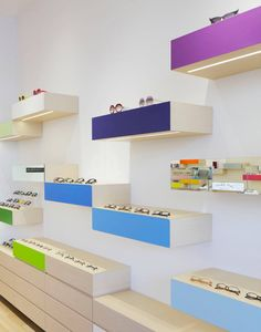 Colorful display cases with lighting beneath.