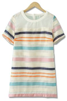 Colour Striped Slim Dress in Pink