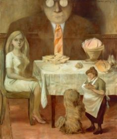 Portrait de famille (Family Portrait), 1954, by surrealist Dorothea Tanning (1910-2012). Note the oversized phantom image of the male presiding over the table, the smaller wife, the even smaller serving maid (not much taller than the family dog). A commentary on gender and class in the 1950s culture.