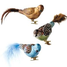 Set of 6 Jeweled Multi-colored Birds