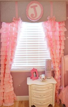 Cute idea for a window treatment. I think this cornice would be cute in a black/pink Parisian themed bedroom.