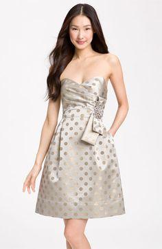 Eliza J Embellished Metallic Satin Strapless Dress   Nordstrom