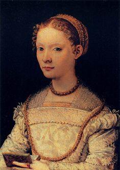 Maso da San Friano (Italian, 1536–1571), Portrait of Elena Gaddi Quartesi, 1550s. Oil on wood, 24 x 18 cm, Galleria Palatina (Palazzo Pitti), Florence.