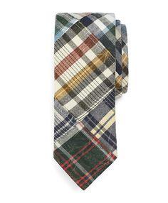 Distressed Madras Patch Slim Tie - Brooks Brothers