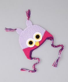 Owl Earflap Beanie by Cuddly Cap Collection on #zulily today!  http://www.zulily.com/invite/jpalmer893/p/mon-petit-mardi-lavender-hot-pink-owl-earflap-beanie-27057-2218454.html?tid=social_pinref_shareviaicon_na=2218454