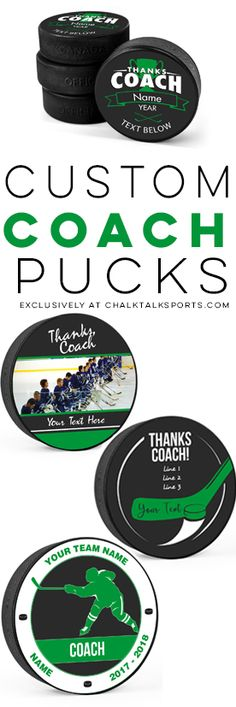 Personalized hockey pucks make a great gift for your coach! No minimum quantity required, easy to customize and ships fast! Hockey Wife, Hockey Coach, Hockey Puck, Coaches Wife, Hockey Party, Workout Gear For Women, Personalized Teacher Gifts, Sport Inspiration, Team Mom