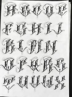 Chicano Tattoos Lettering, Tattoo Lettering Alphabet, Tattoo Name Fonts, Tattoo Lettering Design, Graffiti Lettering Fonts, Graffiti Text, Graffiti Writing, Alfabeto Tattoo, Gangster Letters