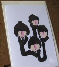 The Fab Four in scarves Beatles greetings by simplekidindustries, $5.50