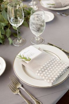 Gray wedding table setting: Romantic Wine Country Wedding With Incredible Personal Details