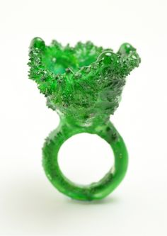 WENHUI-LI-UK Mixed Media Rings – made from salt crystals grown on a ring Jade Jewelry, Resin Jewelry, Jewelry Art, Jewelry Design, Glass Jewelry, Body Adornment, Craft Markets, Resin Ring, Contemporary Jewellery