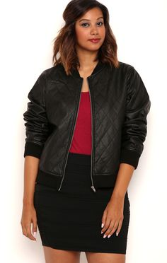 Plus Quilted Faux Leather Bomber Jacket with Zip Up Front