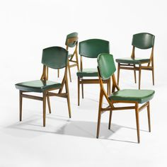 Gio Ponti; #692 Walnut, Skai and Brass Chairs for Cassina, 1952.