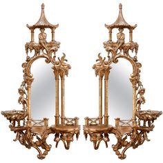 Pair of 19th c. Chinoiserie Mirrors | From a unique collection of antique and modern wall mirrors at https://www.1stdibs.com/furniture/mirrors/wall-mirrors/