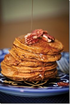"My favorite breakfast, pumpkin pancakes---417 Magazine's October Reader Recipe Contest winner!  Described as a ""luscious fall recipe for spicy and fluffy pancakes with a custardy pumpkin pie center"". YUM!"
