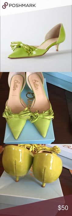 Lime green Butter shoes Beautiful lime green Butter pumps.  Gently worn & in great condition. Size 8. Butter Shoes Shoes Heels