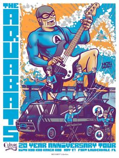 """Image of Aquabats Gig Poster - """"What the what?!?!"""""""