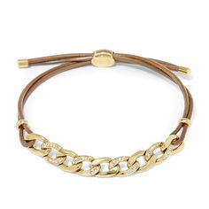 Bracelet à breloques en cuir avec insert de chaîne sertie JF01483 | FOSSIL®