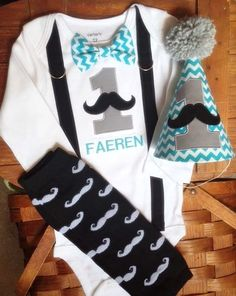 Mustache Cake Smash Outfit!!  First Birthday Mustache Cake Smash!! by SewAdorbs on Etsy
