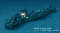 The Australian Modified Leander class light cruiser sunk on 19 November 1941 by the German auxiliary cruiser Kormoran Abandoned Ships, Abandoned Places, Underwater Shipwreck, Yamato Battleship, Royal Australian Navy, Ghost Ship, Anzac Day, Armada, Navy Ships