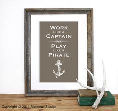 Play like a Pirate Screenprint 12 x 19 in Pick your by Monorail, $20.00.  In navy