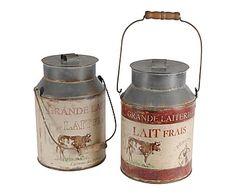 Set de 2 jarras de leche de chapa de metal