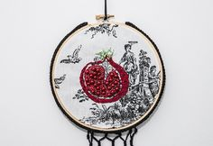 Embroidered and beaded pomegranate fruit on a by LaFloralyse