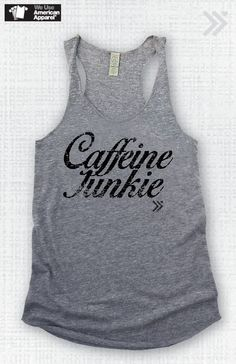 Grey/black Caffeine Junkie Eco Tank on Etsy, $26.00