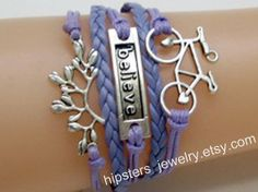 Charm bracelets leather bracelets bicycle and by Hipstersjewelry, $6.99