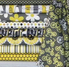 Michael Miller Fabrics  10 pc Citron Gray Fat by StitchinStash, $24.00