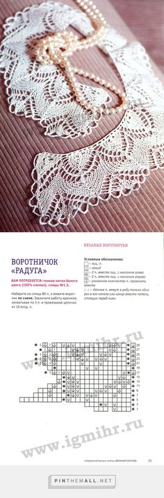 Knitted Lace Collar with chart. Wonderful album of knitted and crochet lace collars. ~~ imgbox - fast, simple image host