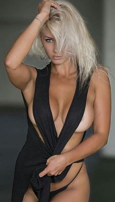 Blonde wearing black lingerie outfit