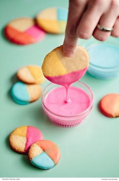 Dipped in various shades of royal icing, these lemon shortbread cookies are sure to add a burst of colour to your dessert station! | Photographer: Tasha Seccombe Photography | Food Stylist and Recipe Developer: The Food Fox