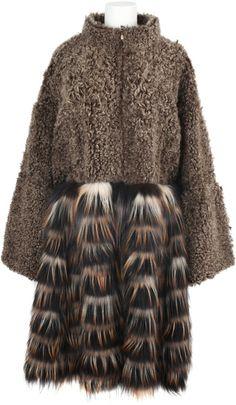 Shearling and Fox Fur Coat