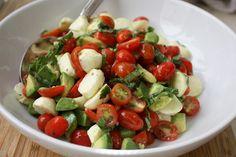 Mozzarella, Tomato, Basil and Avocado salad {8 ingredients}