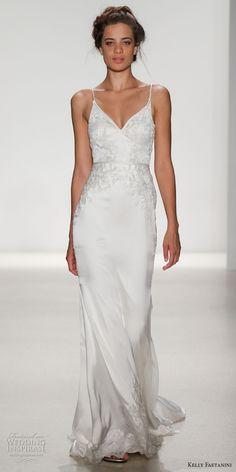 kelly faetanini spring 2018 bridal spagetti strap v neck heavily embellished bodice bustier satin skirt elegant sheath wedding dress open v back short train (bianca) mv -- Kelly Faetanini Spring 2018 Wedding Dresses