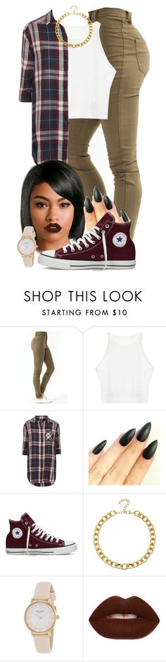 """""""Untitled #481"""" by scorpio2018 ❤ liked on Polyvore featuring Topshop, Converse, Adele Marie, Kate Spade and Lime Crime"""