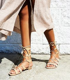 3ff7035fa38d Schutz Lina Lace Up Gladiator Sandals in Lightwood Neutral Sandals