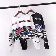 Loose round neck long-sleeved printing sweater